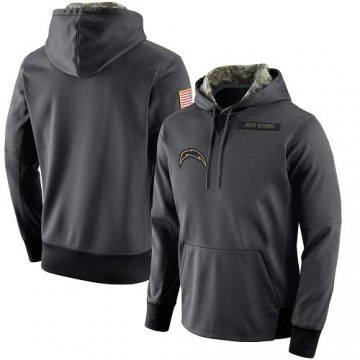 Men's Los Angeles Chargers Anthracite Salute to Service Player Performance Hoodie -