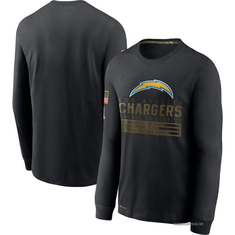 Men's Nike Los Angeles Chargers Black 2020 Salute to Service Sideline Performance Long Sleeve T-Shirt -