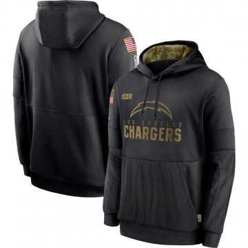 Men's Nike Los Angeles Chargers Black 2020 Salute to Service Sideline Performance Pullover Hoodie -