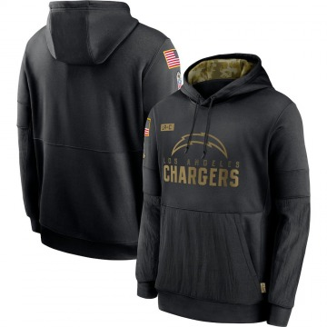 Men's Los Angeles Chargers Black 2020 Salute to Service Sideline Performance Pullover Hoodie -