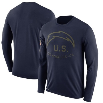 Men's Nike Los Angeles Chargers Navy 2018 Salute to Service Sideline Performance Long Sleeve T-Shirt - Legend
