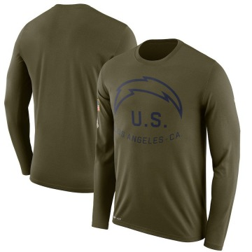 Men's Nike Los Angeles Chargers Olive 2018 Salute to Service Sideline Performance Long Sleeve T-Shirt - Legend