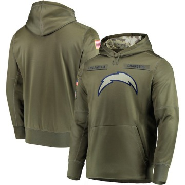 Men's Los Angeles Chargers Olive 2018 Salute to Service Sideline Therma Performance Pullover Hoodie -