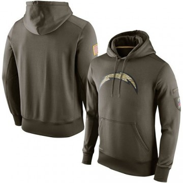 Men's Los Angeles Chargers Olive Salute To Service KO Performance Hoodie -