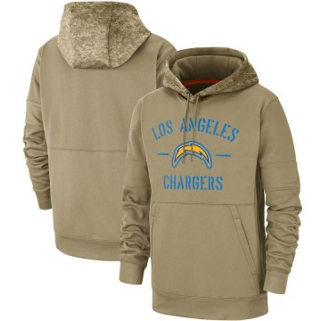 Men's Nike Los Angeles Chargers Tan 2019 Salute to Service Sideline Therma Pullover Hoodie -