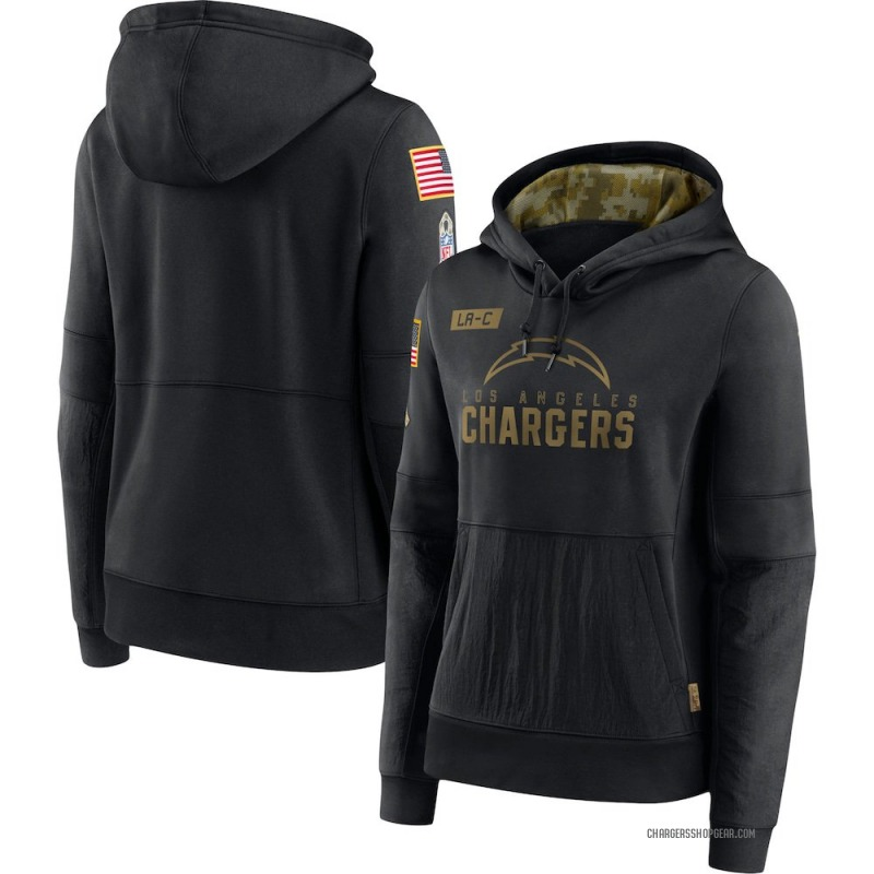 Women's Nike Los Angeles Chargers Black 2020 Salute to Service Performance Pullover Hoodie -