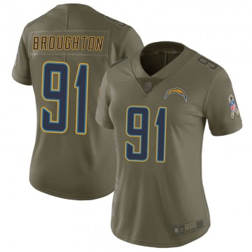 Women's Nike Los Angeles Chargers Cortez Broughton Green 2017 Salute to Service Jersey - Limited