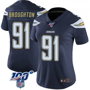 Women's Nike Los Angeles Chargers Cortez Broughton Navy 100th Vapor Jersey - Limited
