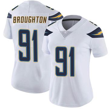 Women's Nike Los Angeles Chargers Cortez Broughton White Vapor Untouchable Jersey - Limited