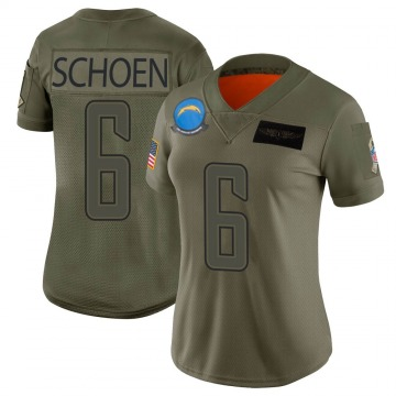 Women's Nike Los Angeles Chargers Dalton Schoen Camo 2019 Salute to Service Jersey - Limited