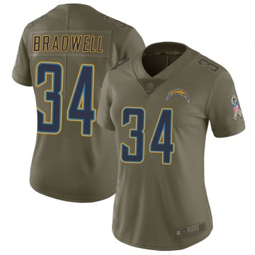 Women's Nike Los Angeles Chargers Darius Bradwell Green 2017 Salute to Service Jersey - Limited