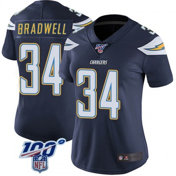 Women's Nike Los Angeles Chargers Darius Bradwell Navy 100th Vapor Jersey - Limited