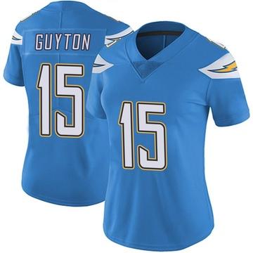 Women's Nike Los Angeles Chargers Jalen Guyton Blue Powder Vapor Untouchable Alternate Jersey - Limited