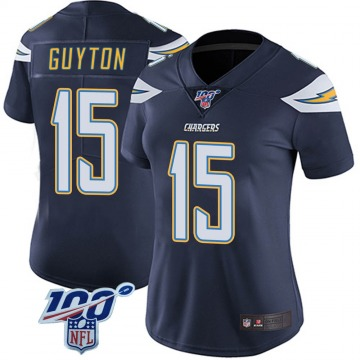 Women's Nike Los Angeles Chargers Jalen Guyton Navy 100th Vapor Jersey - Limited