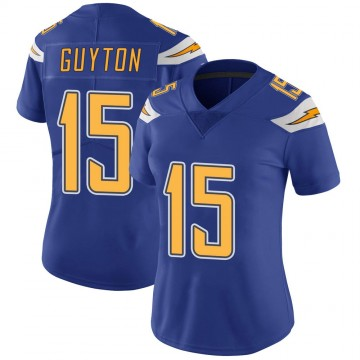 Women's Nike Los Angeles Chargers Jalen Guyton Royal Color Rush Vapor Untouchable Jersey - Limited