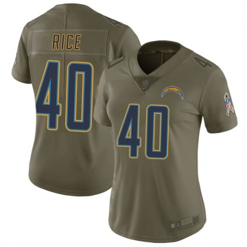 Women's Nike Los Angeles Chargers Jared Rice Green 2017 Salute to Service Jersey - Limited