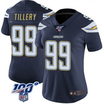 Women's Nike Los Angeles Chargers Jerry Tillery Navy 100th Vapor Jersey - Limited