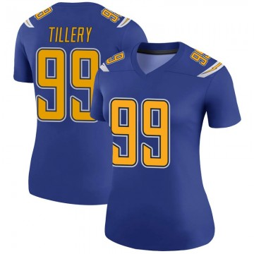 Women's Nike Los Angeles Chargers Jerry Tillery Royal Color Rush Jersey - Legend