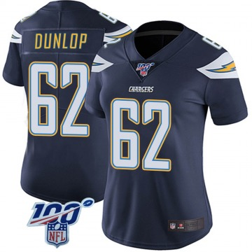 Women's Nike Los Angeles Chargers Josh Dunlop Navy 100th Vapor Jersey - Limited
