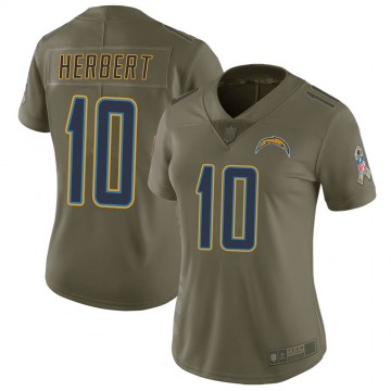 Women's Nike Los Angeles Chargers Justin Herbert Green 2017 Salute to Service Jersey - Limited