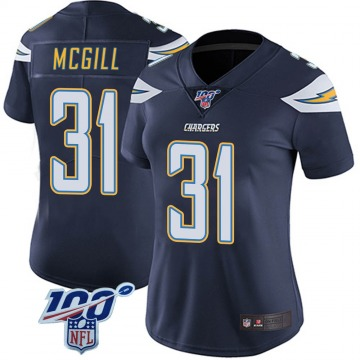 Women's Nike Los Angeles Chargers Kevin McGill Navy 100th Vapor Jersey - Limited