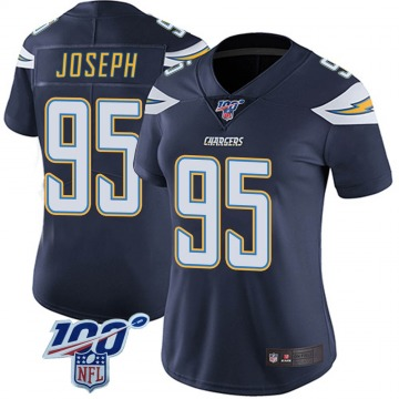 Women's Nike Los Angeles Chargers Linval Joseph Navy 100th Vapor Jersey - Limited