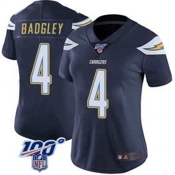 Women's Nike Los Angeles Chargers Mike Badgley Navy 100th Vapor Jersey - Limited