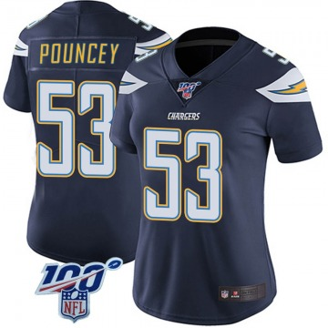 Women's Nike Los Angeles Chargers Mike Pouncey Navy 100th Vapor Jersey - Limited