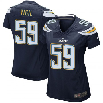 Women's Nike Los Angeles Chargers Nick Vigil Navy Team Color Jersey - Game