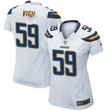 Women's Nike Los Angeles Chargers Nick Vigil White Jersey - Game