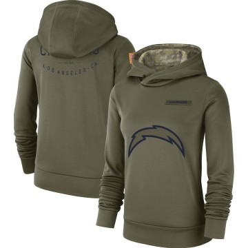 Women's Los Angeles Chargers Olive 2018 Salute to Service Team Logo Performance Pullover Hoodie -