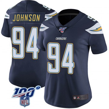 Women's Nike Los Angeles Chargers PJ Johnson Navy 100th Vapor Jersey - Limited