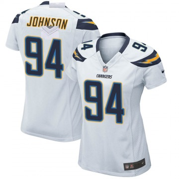 Women's Nike Los Angeles Chargers PJ Johnson White Jersey - Game