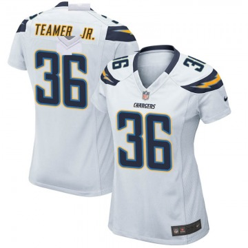 Women's Nike Los Angeles Chargers Roderic Teamer Jr. White Jersey - Game