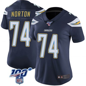 Women's Nike Los Angeles Chargers Storm Norton Navy 100th Vapor Jersey - Limited