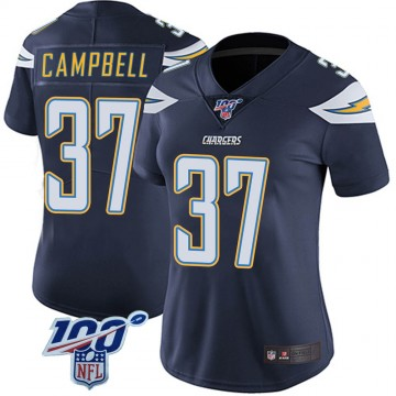Women's Nike Los Angeles Chargers Tevaughn Campbell Navy 100th Vapor Jersey - Limited