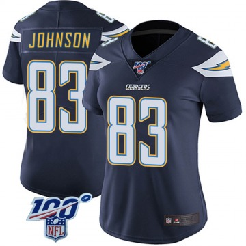 Women's Nike Los Angeles Chargers Tyron Johnson Navy 100th Vapor Jersey - Limited