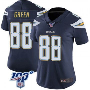 Women's Nike Los Angeles Chargers Virgil Green Green Navy 100th Vapor Jersey - Limited