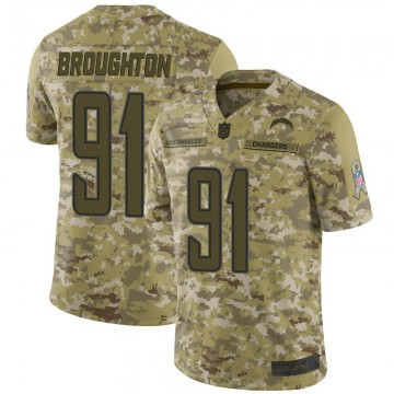 Youth Nike Los Angeles Chargers Cortez Broughton Camo 2018 Salute to Service Jersey - Limited