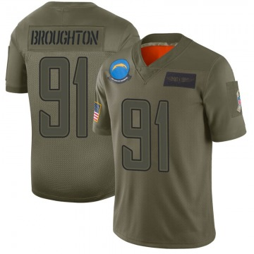 Youth Nike Los Angeles Chargers Cortez Broughton Camo 2019 Salute to Service Jersey - Limited