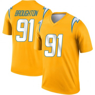 Youth Nike Los Angeles Chargers Cortez Broughton Gold Inverted Jersey - Legend