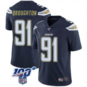 Youth Nike Los Angeles Chargers Cortez Broughton Navy 100th Vapor Jersey - Limited