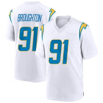 Youth Nike Los Angeles Chargers Cortez Broughton White Jersey - Game