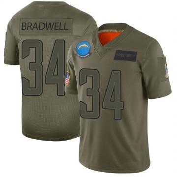 Youth Nike Los Angeles Chargers Darius Bradwell Camo 2019 Salute to Service Jersey - Limited