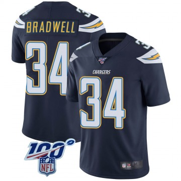 Youth Nike Los Angeles Chargers Darius Bradwell Navy 100th Vapor Jersey - Limited