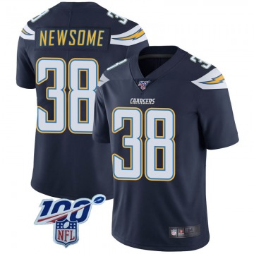 Youth Nike Los Angeles Chargers Detrez Newsome Navy 100th Vapor Jersey - Limited