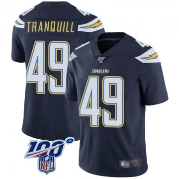 Youth Nike Los Angeles Chargers Drue Tranquill Navy 100th Vapor Jersey - Limited