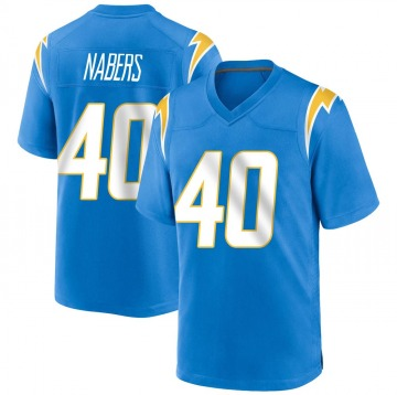 Youth Nike Los Angeles Chargers Gabe Nabers Blue Powder Alternate Jersey - Game