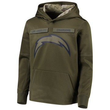 Youth Nike Los Angeles Chargers Green 2018 Salute to Service Pullover Performance Hoodie -