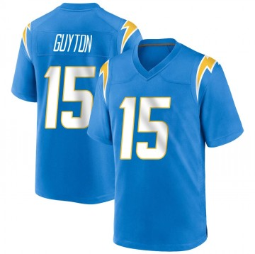 Youth Nike Los Angeles Chargers Jalen Guyton Blue Powder Alternate Jersey - Game